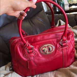 Authentic Christian Dior Red Handbag Excellent